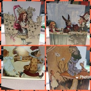 set of 4 All about Alice blank greeting cards. New